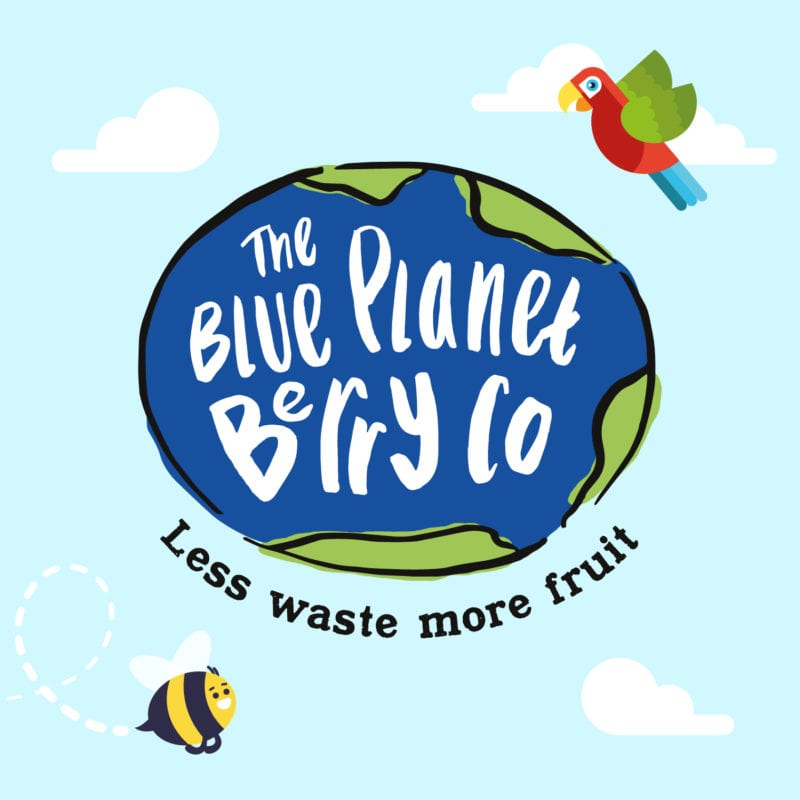 blue planet berry co logo with parrot and bee