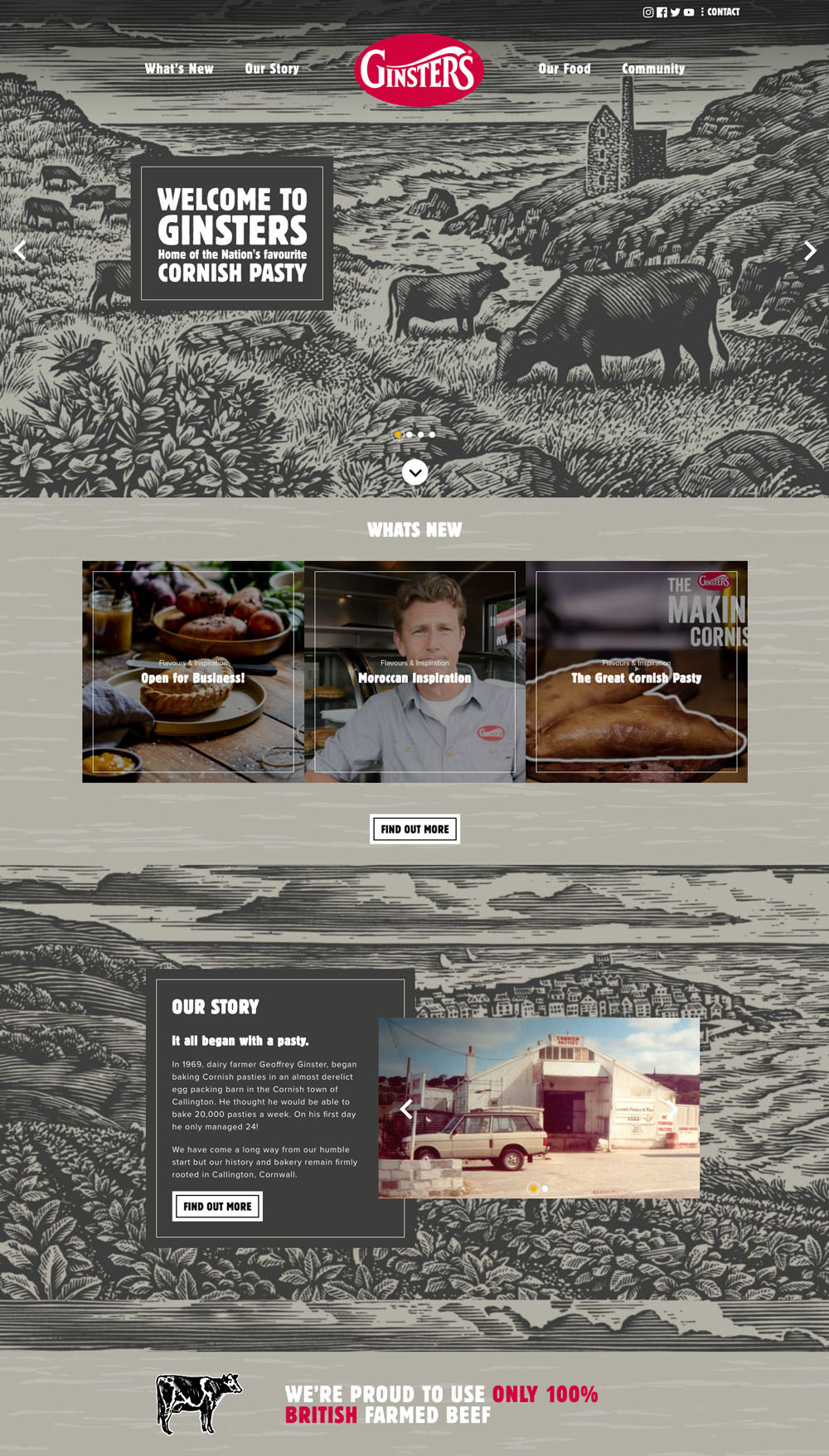ginsters website homepage