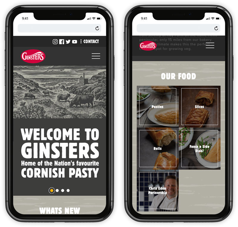 ginsters website responsive