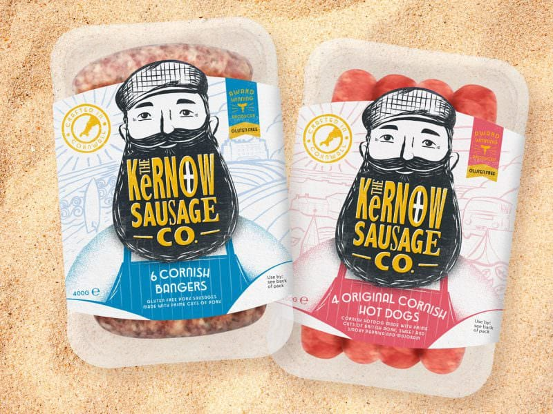 kernow sausages packaging